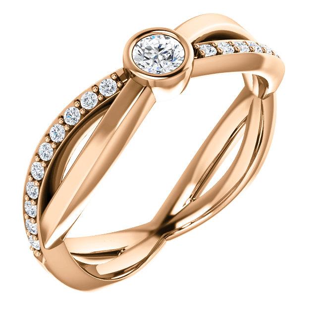 14K Rose 3.4 mm Round 1/3 CTW Diamond Infinity-Inspired Ring
