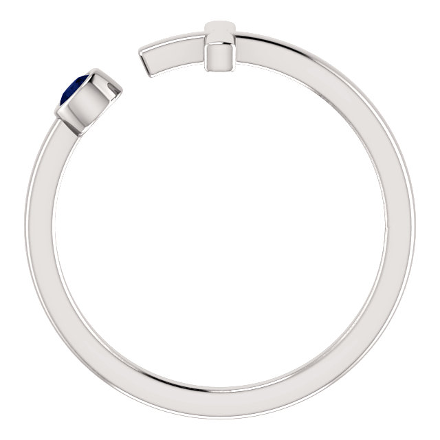 14K White Blue Sapphire Negative Space Cross Ring
