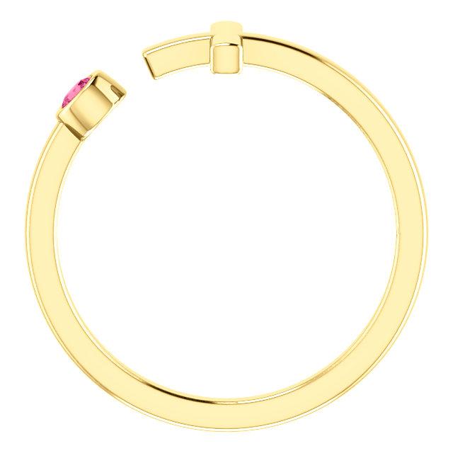 14K Yellow Pink Tourmaline Negative Space Cross Ring