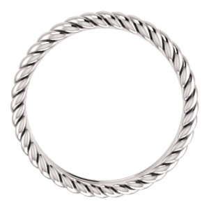 14K White 3.75mm Thick Rope Band Size 6