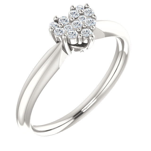 Sterling Silver Cubic Zirconia Heart Ring Size 7