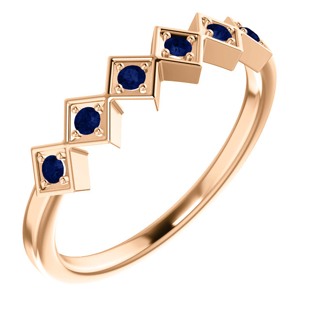 14K Rose Blue Sapphire Stackable Ring
