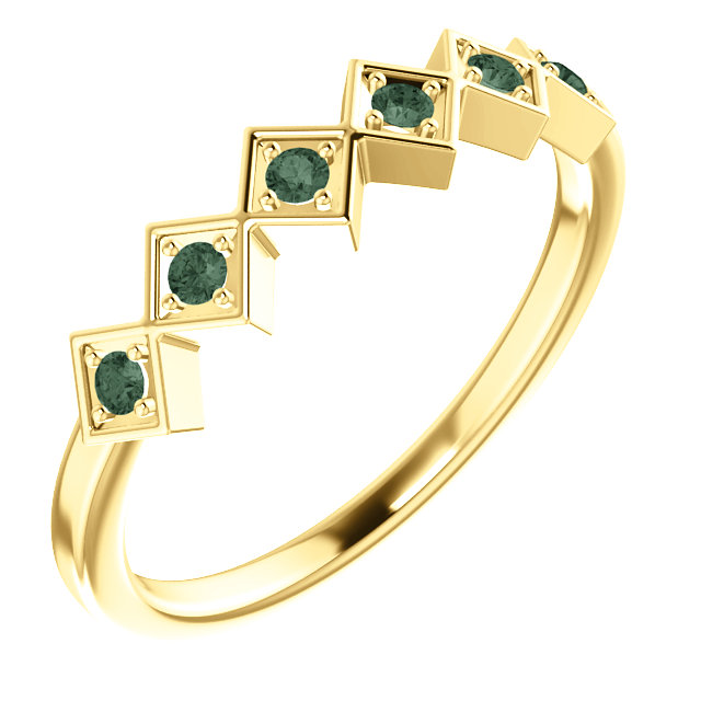 14K Yellow Alexandrite Stackable Ring