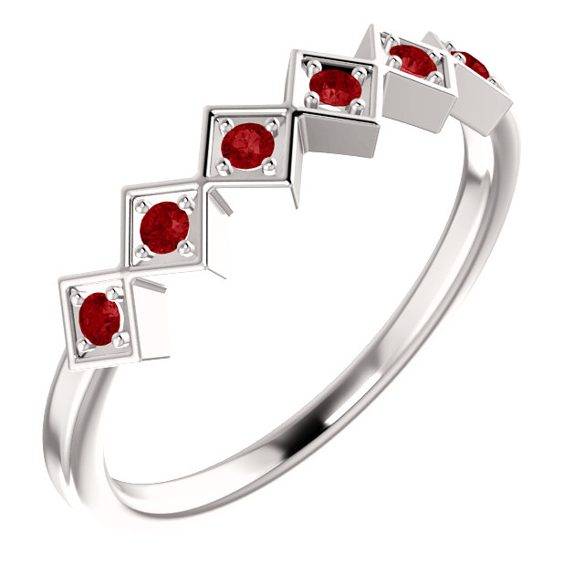 14K White Chatham® Created Ruby Stackable Ring