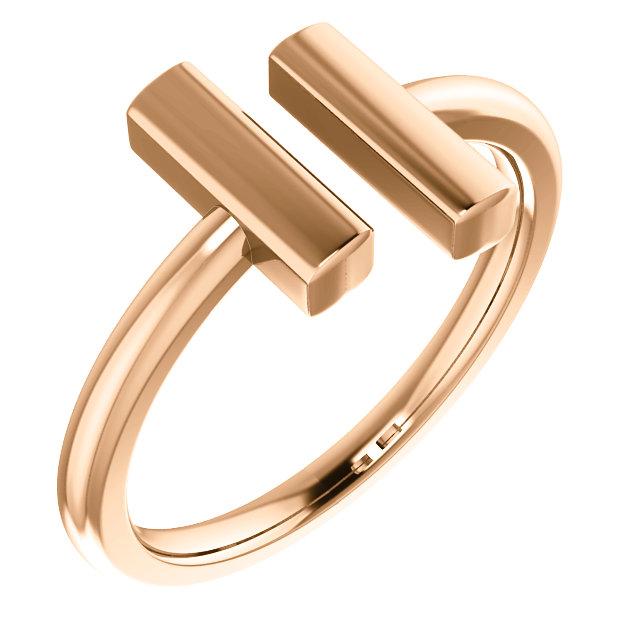 14K Rose Vertical Bar Ring