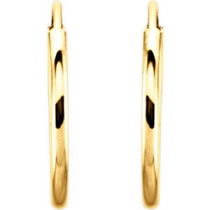 14K Yellow 12mm Endless Hoop Earrings