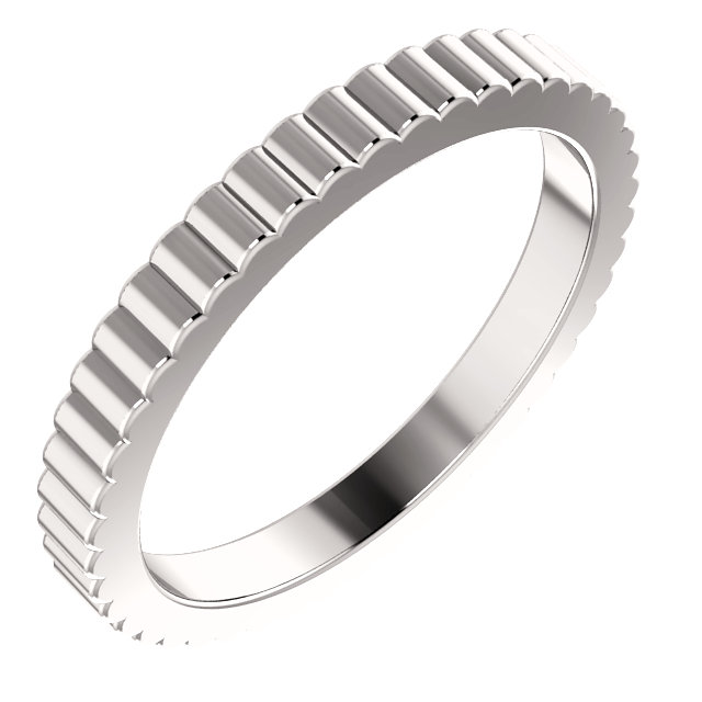 14K White 2.5 mm Grooved Band Size 7
