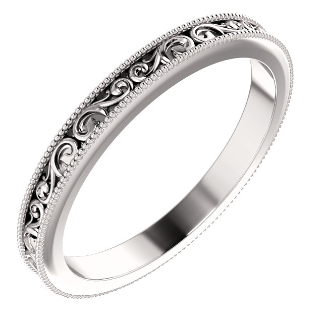 14K White 2.5mm Band Size 7