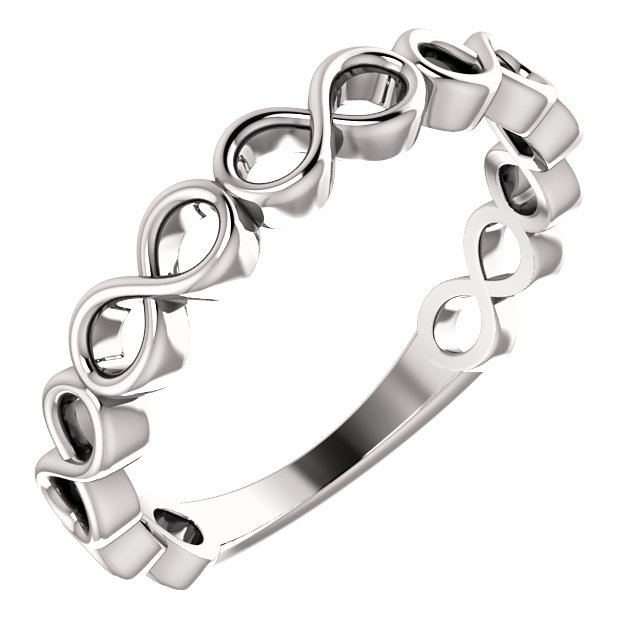 14K White Infinity Stackable Ring