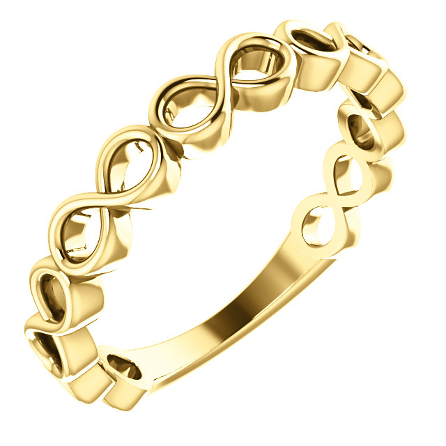 14K Yellow Infinity Stackable Ring