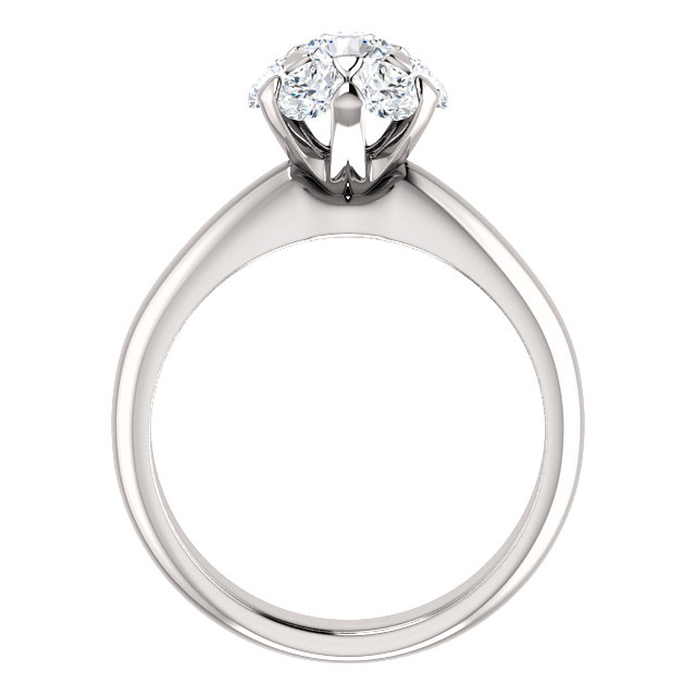 14K White 1 1/5 CTW Diamond Cluster Engagement Ring