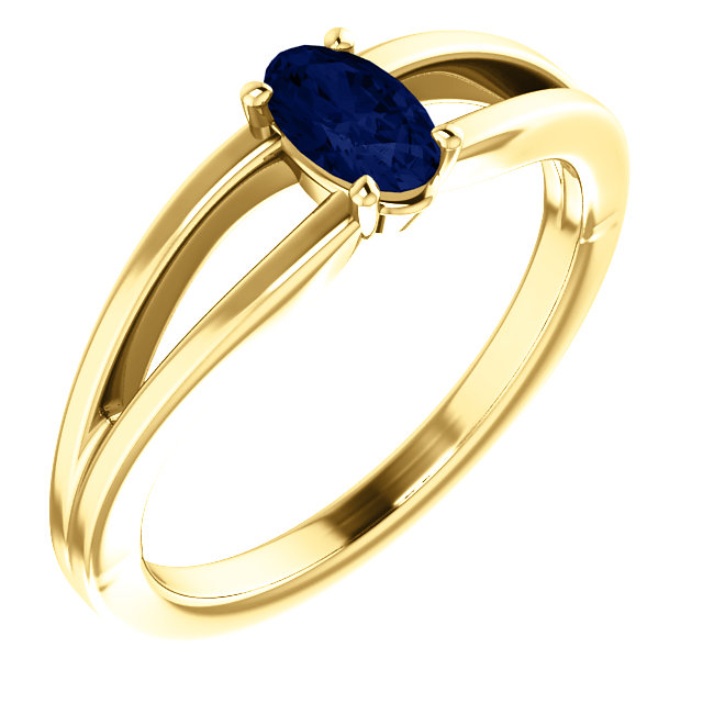 14K Yellow Chatham® Created Blue Sapphire Solitaire Youth Ring