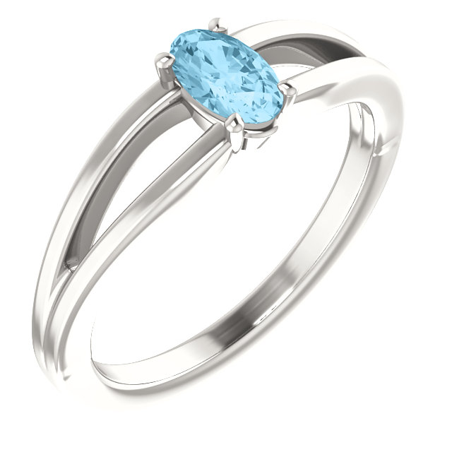 Sterling Silver Imitation Aquamarine Solitaire Youth Ring