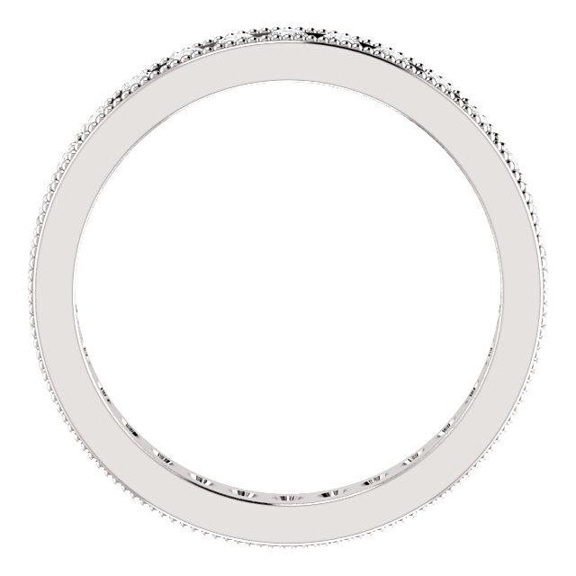 14K White 9/10 CTW Diamond Milgrain Eternity Band Size 7