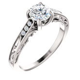 Accented Vintage-Inspired Engagement Ring or Band