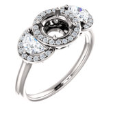 Halo-Style Three-Stone Engagement Ring or Band