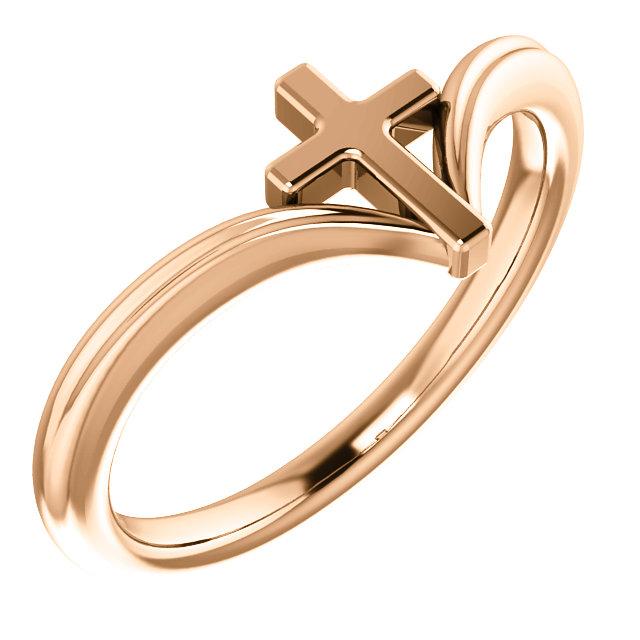 14K Rose Cross Ring