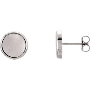 Earrings , 14K White Concave Earrings