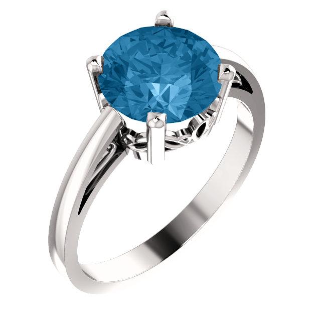 14K White Swiss Blue Topaz Ring