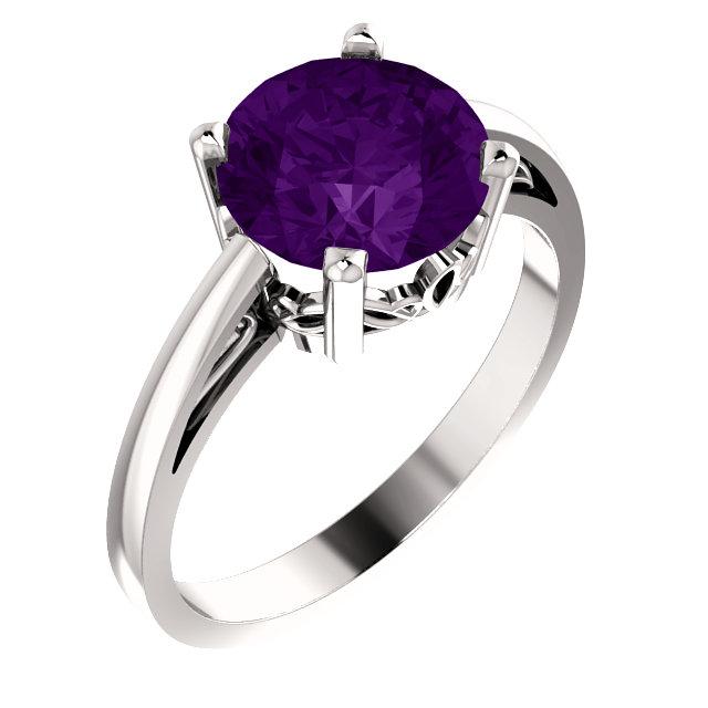 14K White Amethyst Ring