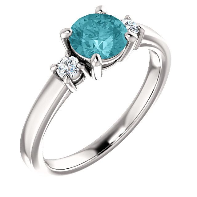 14K White 6mm Round Blue Zircon & 1/8 CTW Diamond Ring