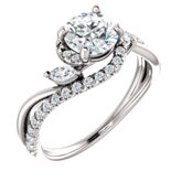 French-Set Bypass Engagement Ring or Band