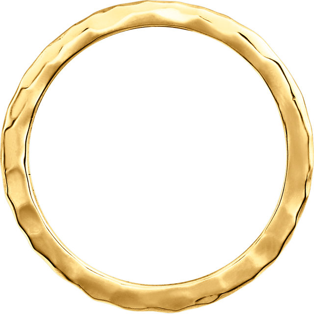 14K Yellow 1.8 mm Hammered Stackable Ring Size 7