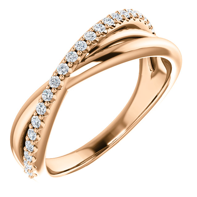 14K Rose 1/5 CTW Diamond Criss-Cross Ring