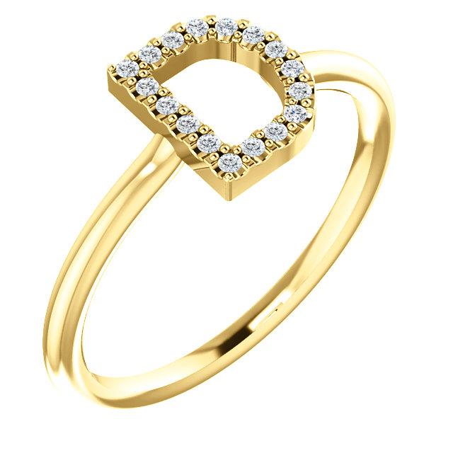 14K Yellow .07 CTW Diamond  Initial D Ring