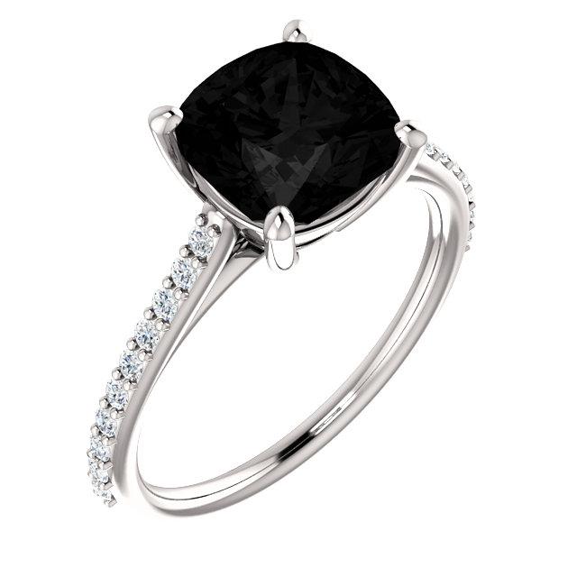 14K White Onyx & 1/5 CTW Diamond Ring