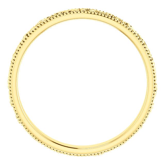 14K Yellow 3.2 mm Scroll Band Size 9