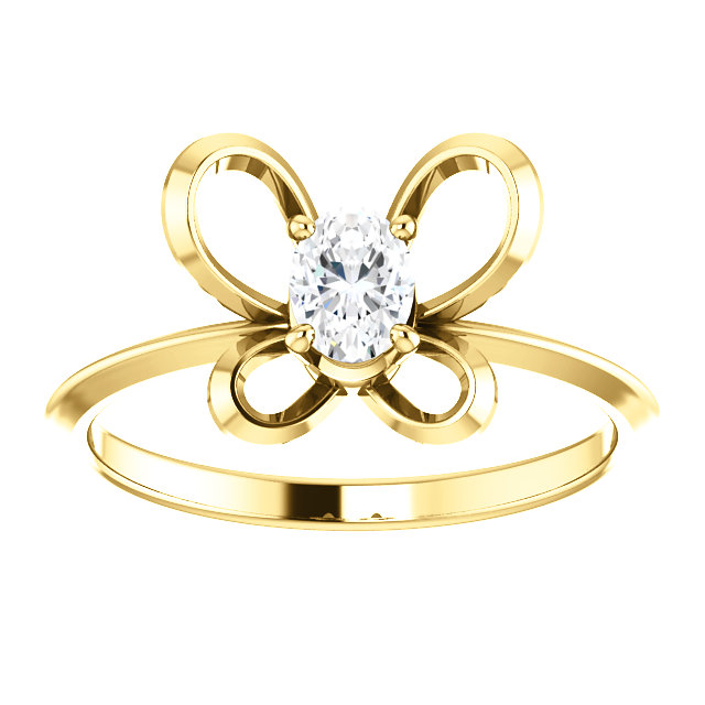 14K Yellow 4x3 mm Oval April Youth Butterfly Birthstone Ring