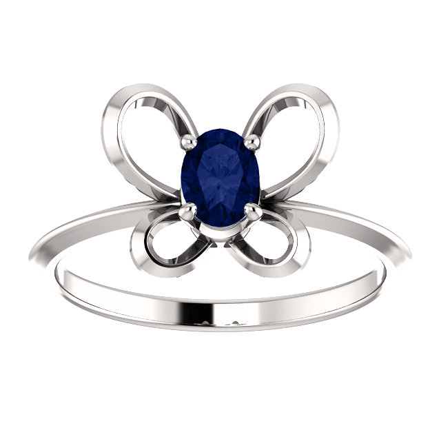 14K White 4x3 mm Oval September Youth Butterfly Birthstone Ring