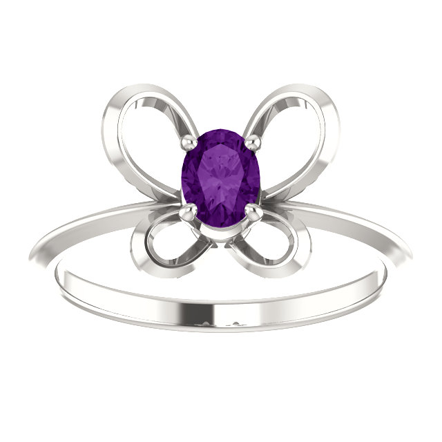 Sterling Silver 4x3 mm Oval February Youth Butterfly Birthstone Ring