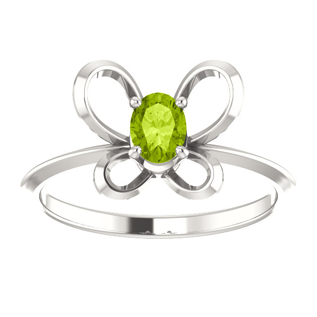 Sterling Silver 4x3 mm Oval August Youth Butterfly Birthstone Ring