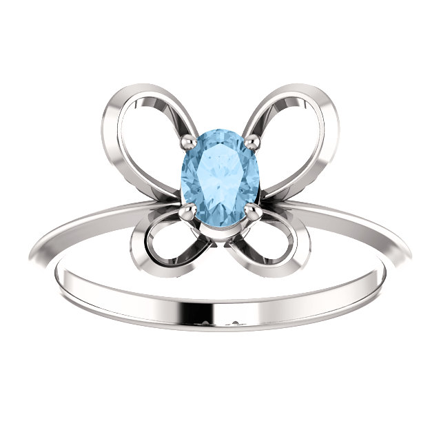 14K White 4x3 mm Oval December Youth Butterfly Birthstone Ring