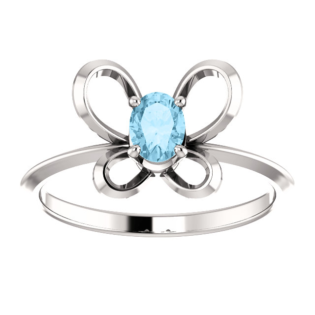 14K White 4x3 mm Oval March Youth Butterfly Birthstone Ring