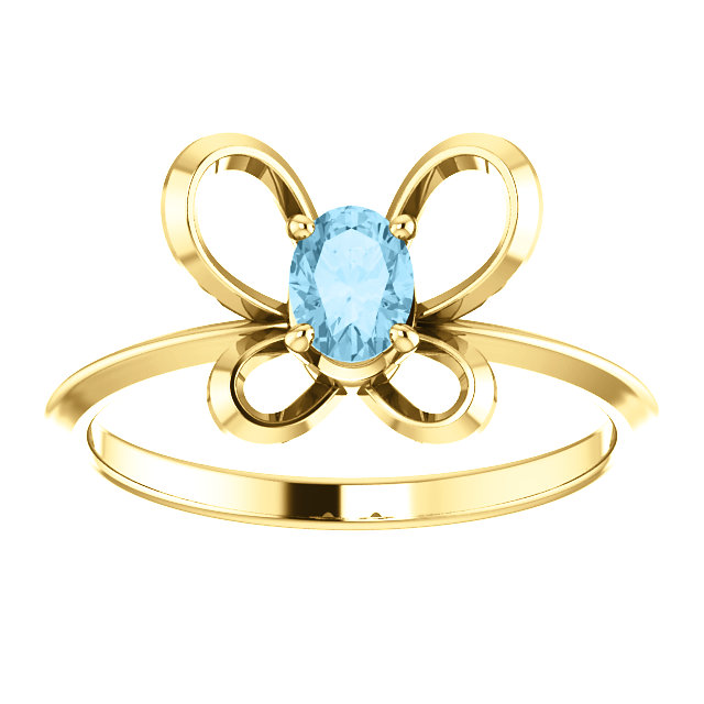 14K Yellow 4x3 mm Oval March Youth Butterfly Birthstone Ring