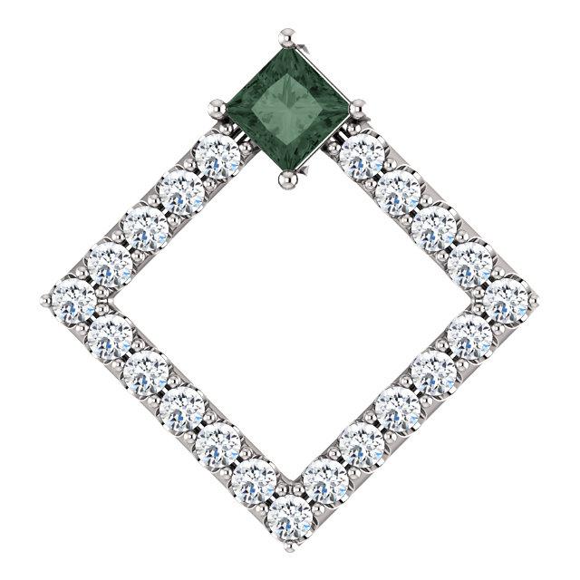 14K White Chatham® Created Alexandrite & 3/8 CTW Diamond Pendant