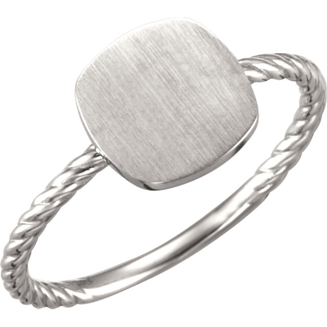 Continuum Sterling Silver Antique Engravable Rope Ring