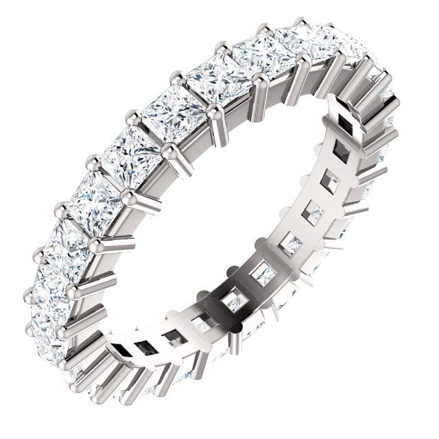 14K White 2 5/8 CTW Diamond Square Eternity Band Size 7