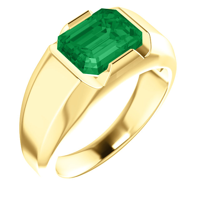 14K Yellow Chatham® Created Emerald Men-s Solitaire Ring