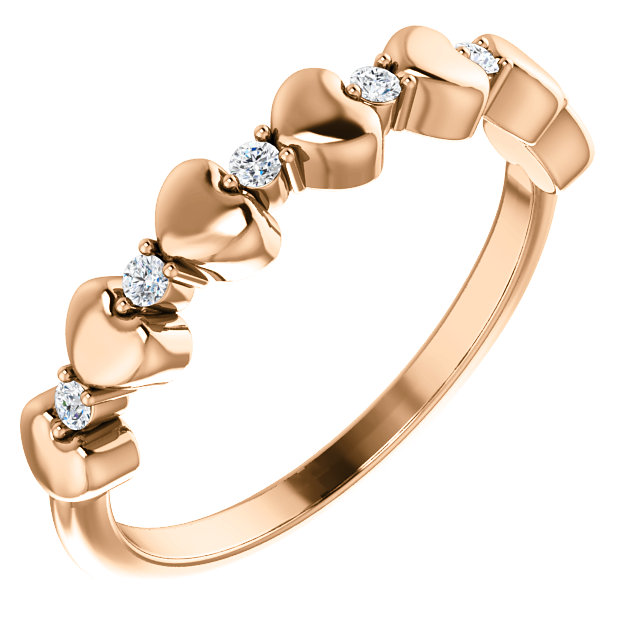 14K Rose 1/10 CTW Diamond Stackable Heart Ring