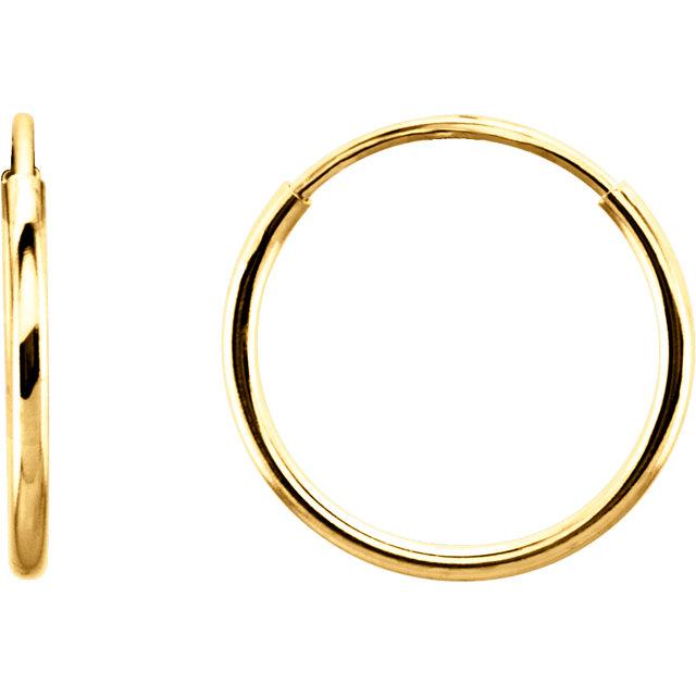 14K Yellow 12 mm Endless Hoop Earrings