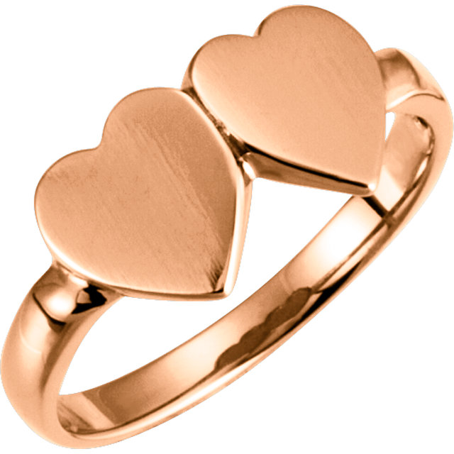 14K Rose 13.8x7 mm Double Heart Signet Ring Size 5.75