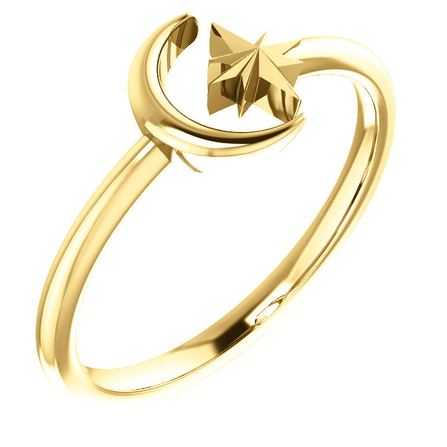 14K Yellow Crescent Moon & Star Negative Space Ring