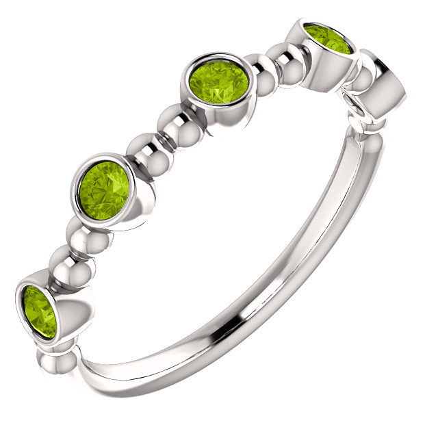 14K White Peridot Stackable Beaded Ring