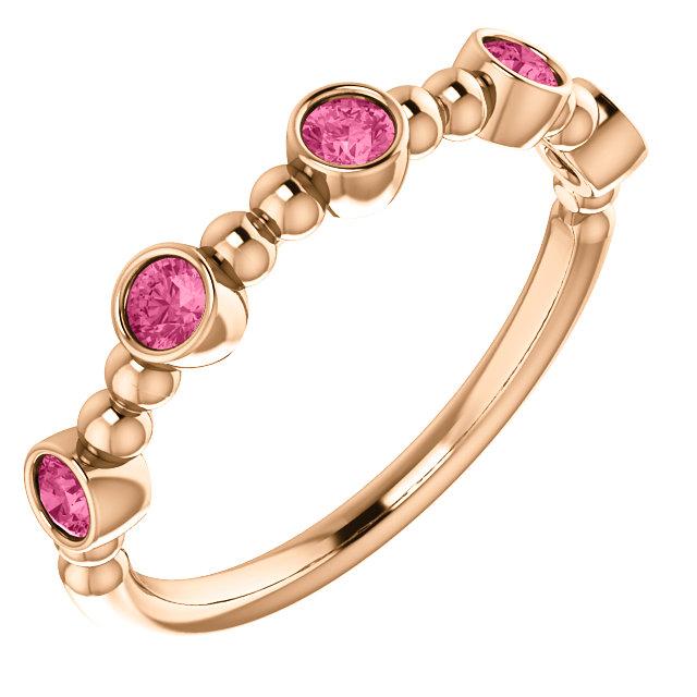 14K Rose Pink Tourmaline Stackable Beaded Ring