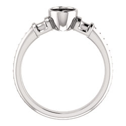 Baguette Accented Bezel-Set Engagement Ring