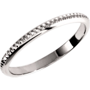 14K White 2mm Design Band Size 6